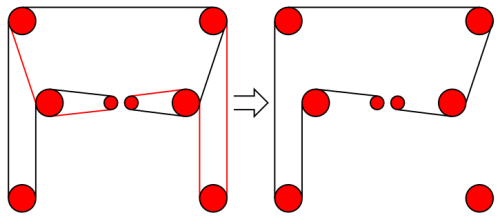 CoreXY belt paths, both and one